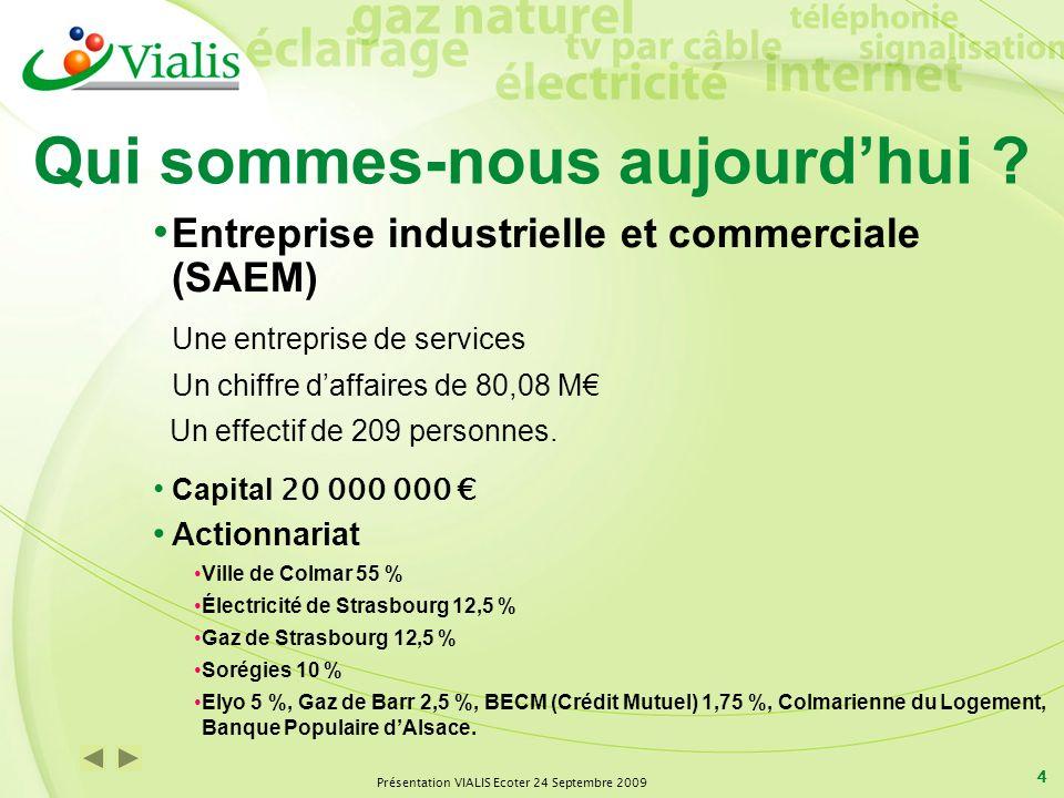 Présentation VIALIS Ecoter 24 Septembre 2009 4 Qui sommes-nous aujourdhui ? Entreprise industrielle et commerciale (SAEM) Une entreprise de services U