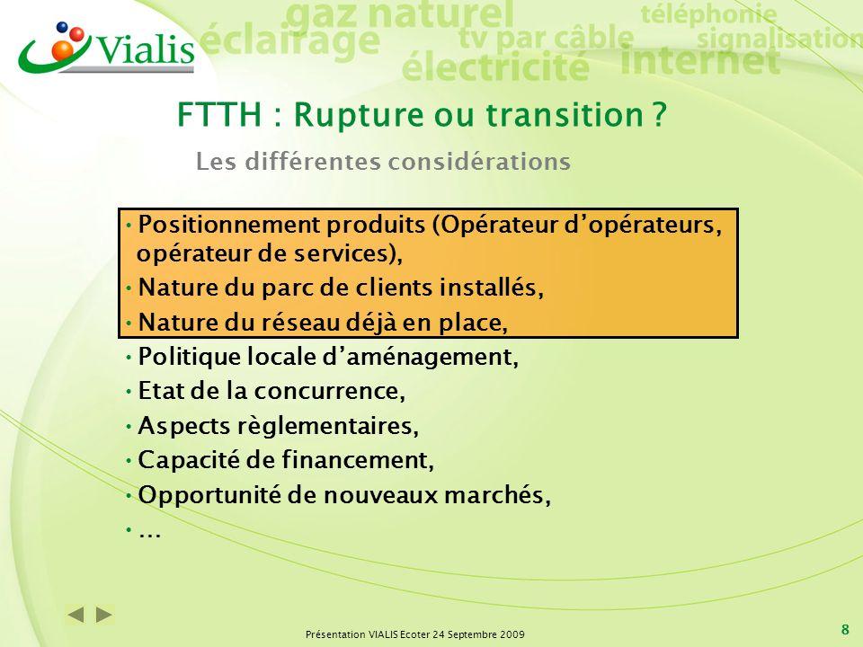 Présentation VIALIS Ecoter 24 Septembre 2009 8 FTTH : Rupture ou transition ? Positionnement produits (Opérateur dopérateurs, opérateur de services),