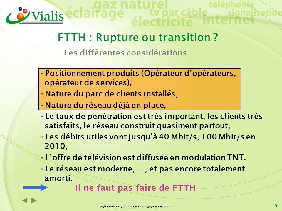 Présentation VIALIS Ecoter 24 Septembre 2009 9 FTTH : Rupture ou transition ? Positionnement produits (Opérateur dopérateurs, opérateur de services),