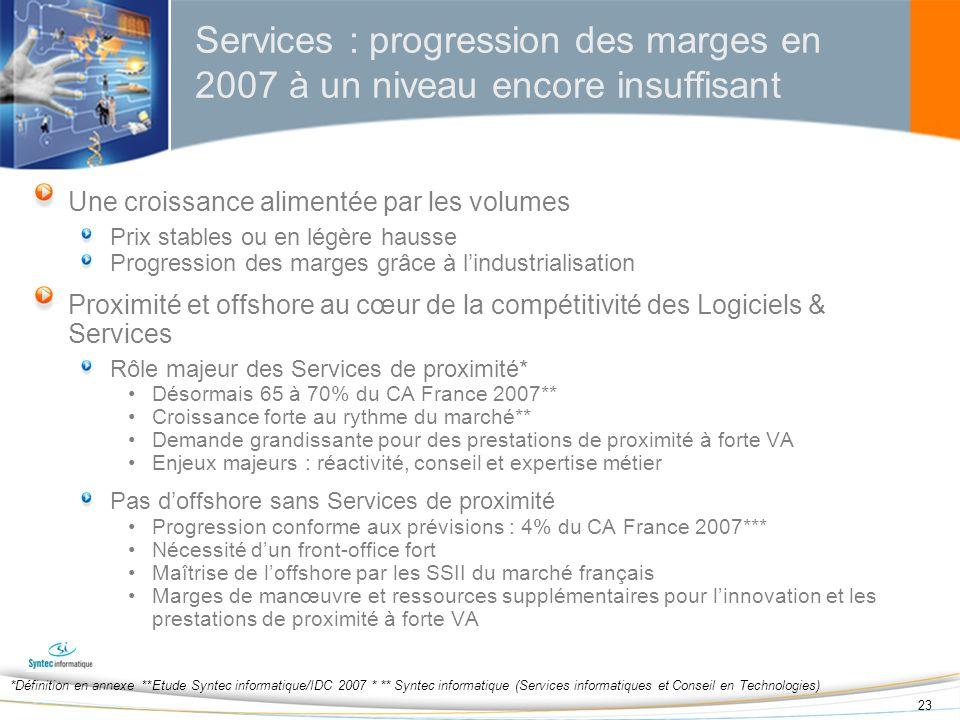 23 Services : progression des marges en 2007 à un niveau encore insuffisant Une croissance alimentée par les volumes Prix stables ou en légère hausse