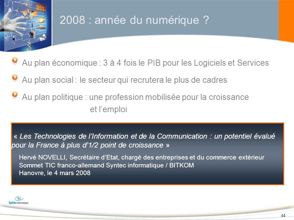 44 2008 : année du numérique ? Au plan économique : 3 à 4 fois le PIB pour les Logiciels et Services Au plan social : le secteur qui recrutera le plus