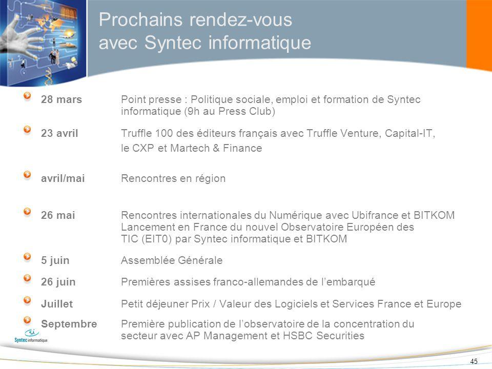 45 28 marsPoint presse : Politique sociale, emploi et formation de Syntec informatique (9h au Press Club) 23 avril Truffle 100 des éditeurs français a