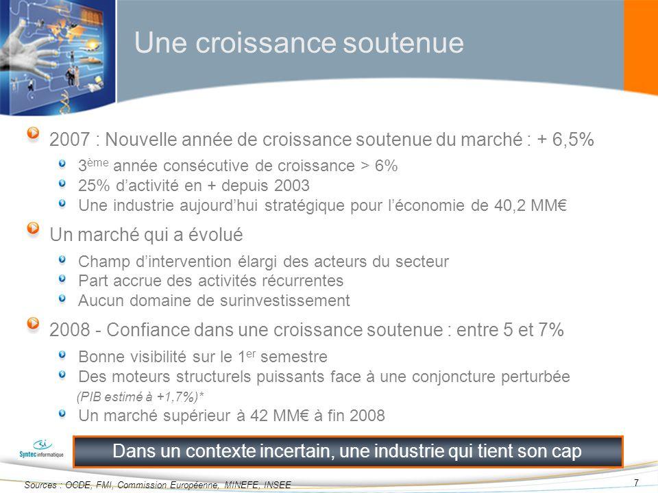 38 Sommaire Introduction Observatoire économique & social 2007/2008 Année franco-allemande Initiatives Syntec informatique et projets gouvernementaux Conclusion