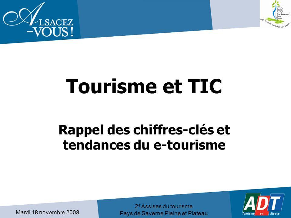Mardi 18 novembre 2008 2 e Assises du tourisme Pays de Saverne Plaine et Plateau Tourisme et TIC Rappel des chiffres-clés et tendances du e-tourisme