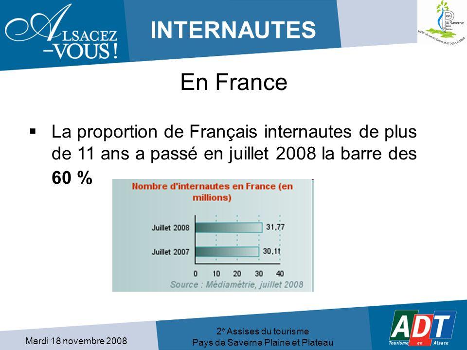 Mardi 18 novembre 2008 2 e Assises du tourisme Pays de Saverne Plaine et Plateau INTERNAUTES En France La proportion de Français internautes de plus de 11 ans a passé en juillet 2008 la barre des 60 %