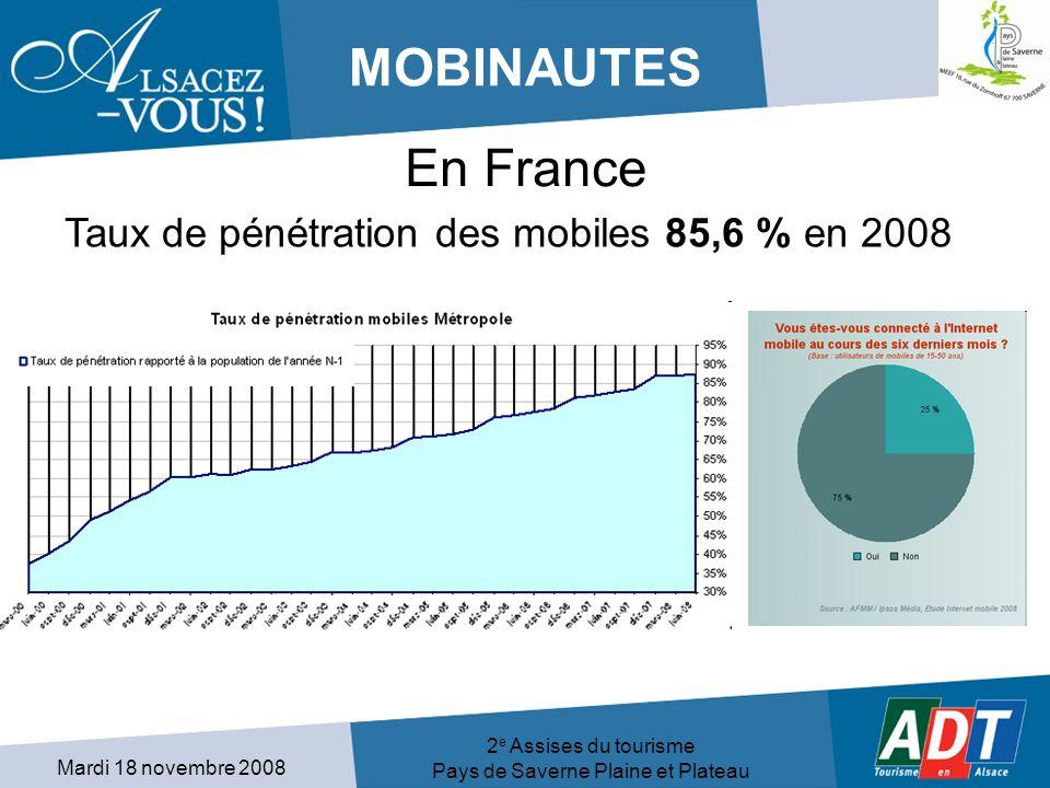 Mardi 18 novembre 2008 2 e Assises du tourisme Pays de Saverne Plaine et Plateau MOBINAUTES Taux de pénétration des mobiles 85,6 % en 2008 En France