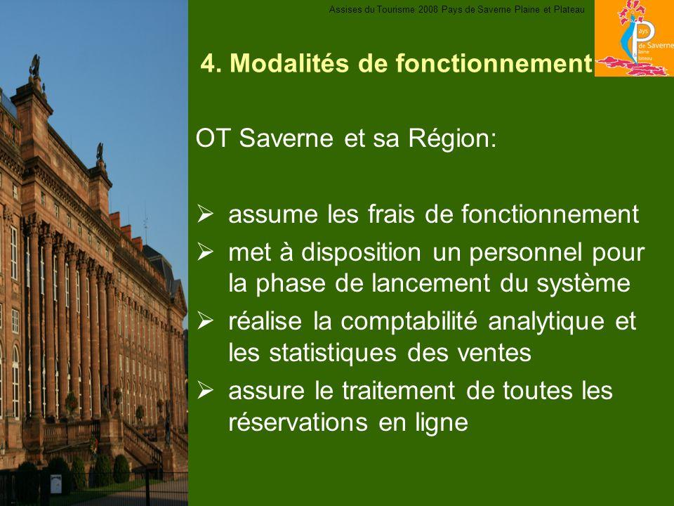 4. Modalités de fonctionnement OT Saverne et sa Région: assume les frais de fonctionnement met à disposition un personnel pour la phase de lancement d