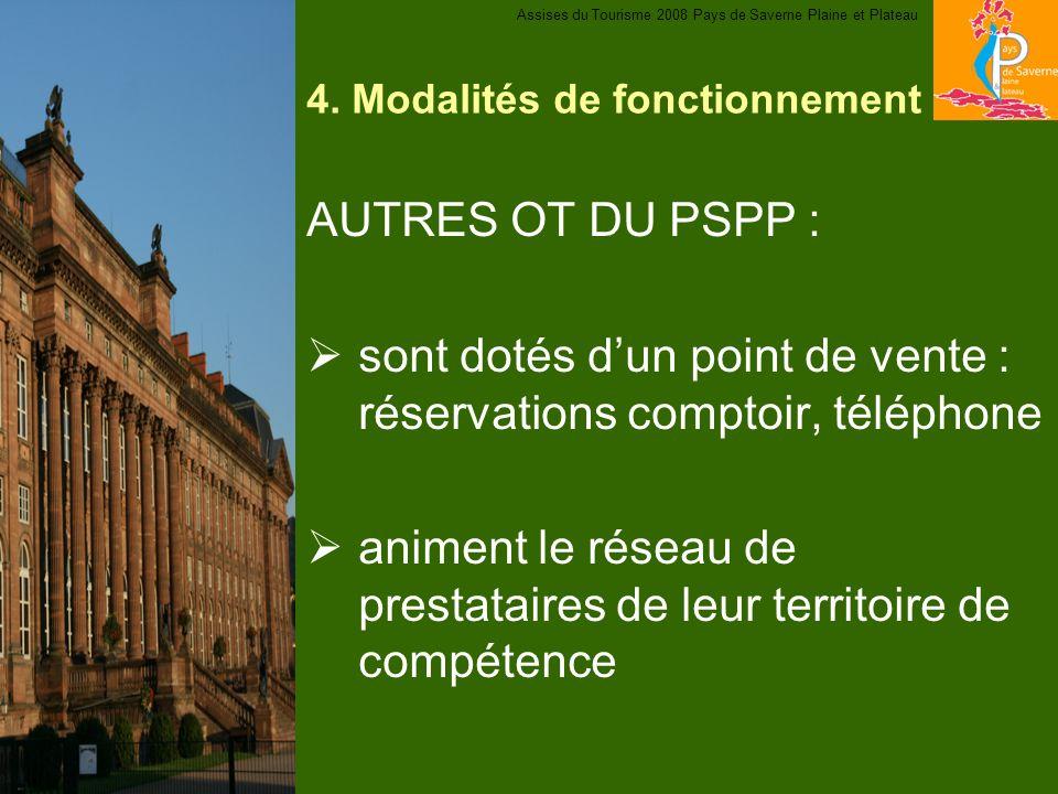 4. Modalités de fonctionnement AUTRES OT DU PSPP : sont dotés dun point de vente : réservations comptoir, téléphone animent le réseau de prestataires