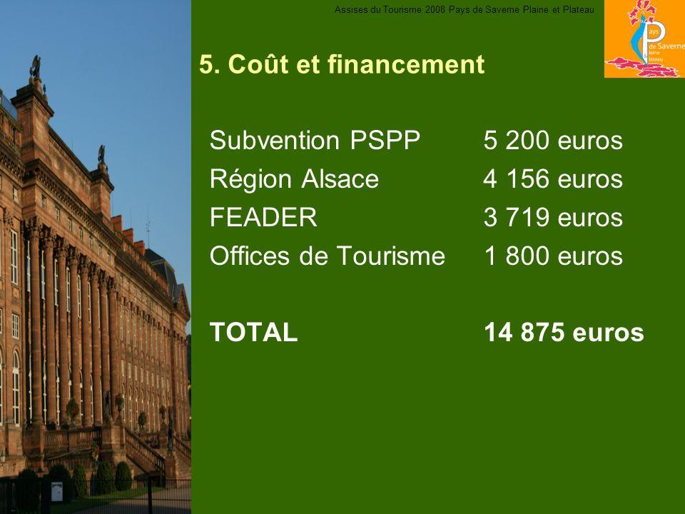 5. Coût et financement Subvention PSPP5 200 euros Région Alsace4 156 euros FEADER3 719 euros Offices de Tourisme1 800 euros TOTAL14 875 euros Assises