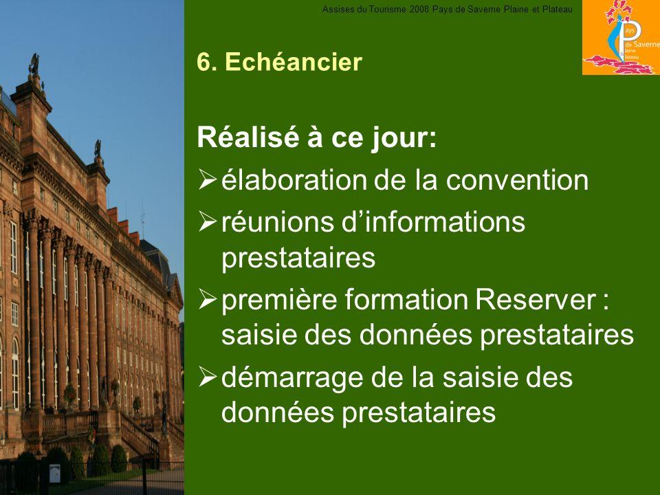 6. Echéancier Réalisé à ce jour: élaboration de la convention réunions dinformations prestataires première formation Reserver : saisie des données pre
