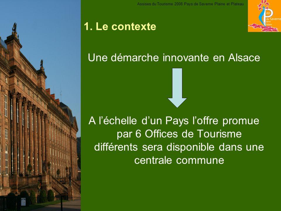 1. Le contexte Une démarche innovante en Alsace A léchelle dun Pays loffre promue par 6 Offices de Tourisme différents sera disponible dans une centra