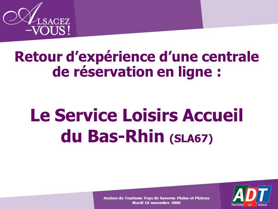 Retour dexpérience dune centrale de réservation en ligne : Le Service Loisirs Accueil du Bas-Rhin (SLA67) Assises du Tourisme Pays de Saverne Plaine e