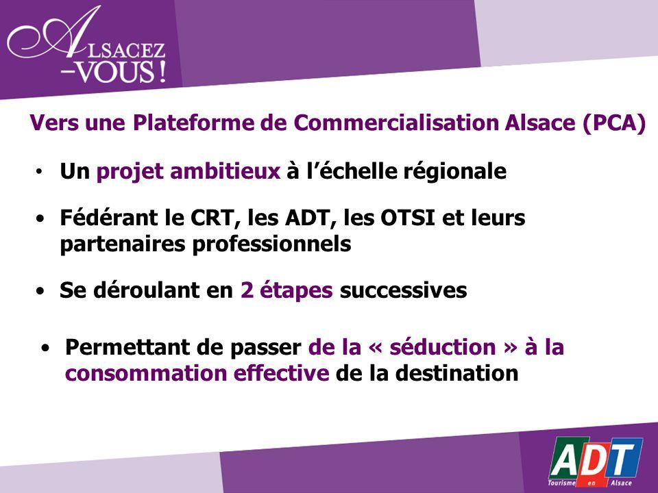 Un projet ambitieux à léchelle régionale Vers une Plateforme de Commercialisation Alsace (PCA) Fédérant le CRT, les ADT, les OTSI et leurs partenaires