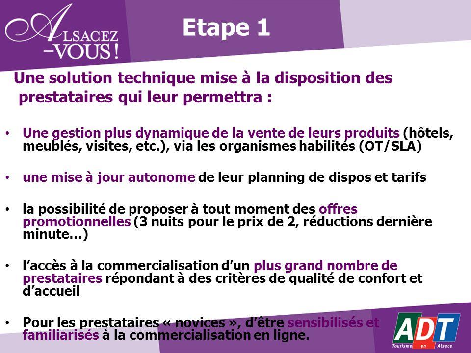 Etape 1 Une solution technique mise à la disposition des prestataires qui leur permettra : Une gestion plus dynamique de la vente de leurs produits (h