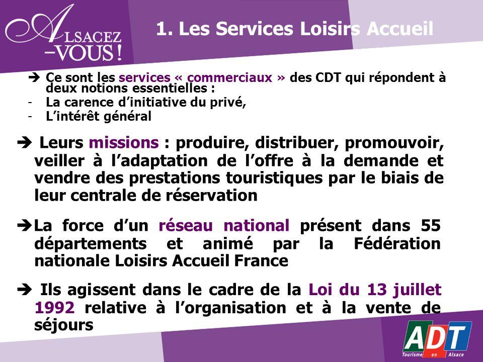 1. Les Services Loisirs Accueil Ce sont les services « commerciaux » des CDT qui répondent à deux notions essentielles : -La carence dinitiative du pr