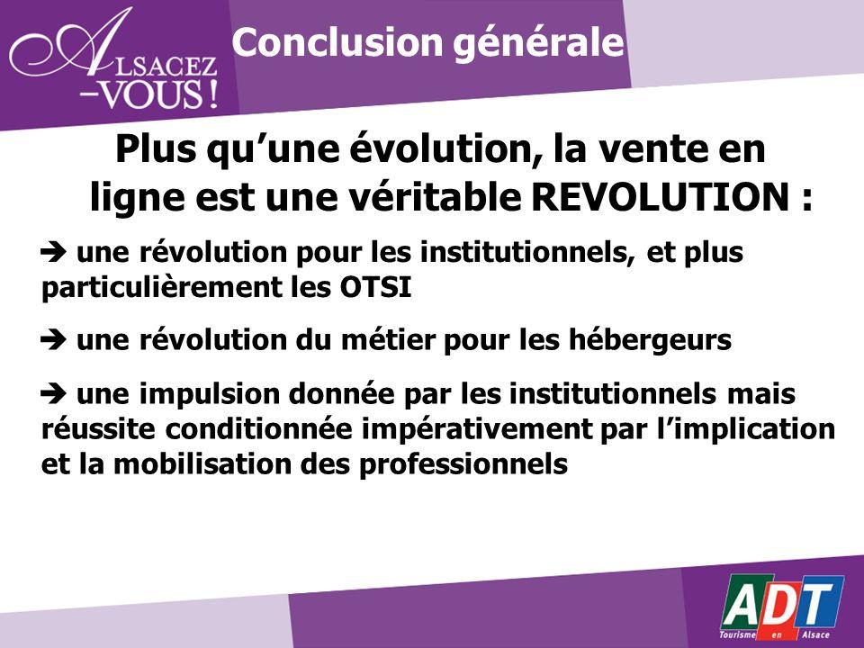 Plus quune évolution, la vente en ligne est une véritable REVOLUTION : Conclusion générale une révolution pour les institutionnels, et plus particuliè