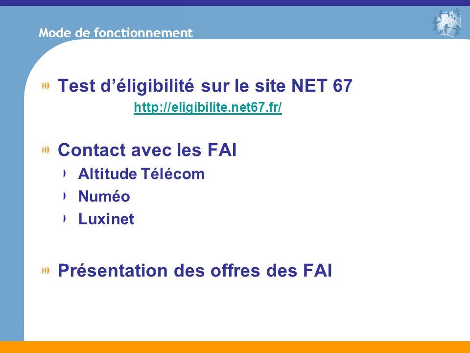 Mode de fonctionnement Test déligibilité sur le site NET 67 http://eligibilite.net67.fr/ Contact avec les FAI Altitude Télécom Numéo Luxinet Présentat