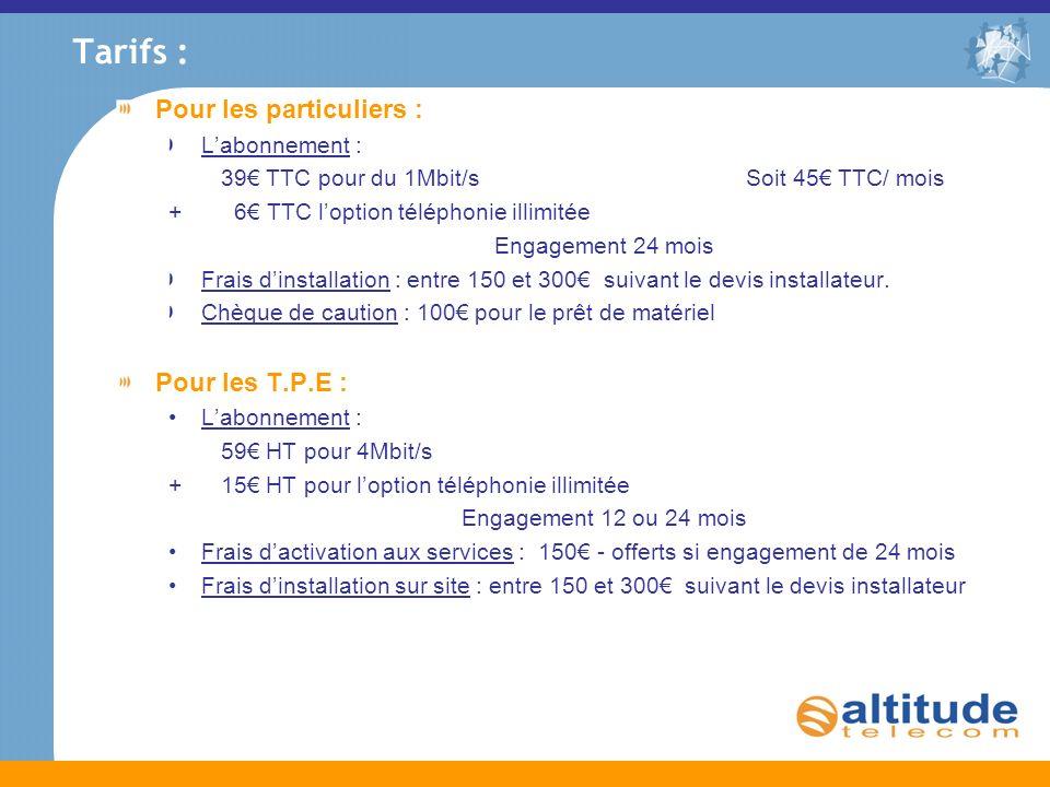 Tarifs : Pour les particuliers : Labonnement : 39 TTC pour du 1Mbit/s Soit 45 TTC/ mois + 6 TTC loption téléphonie illimitée Engagement 24 mois Frais
