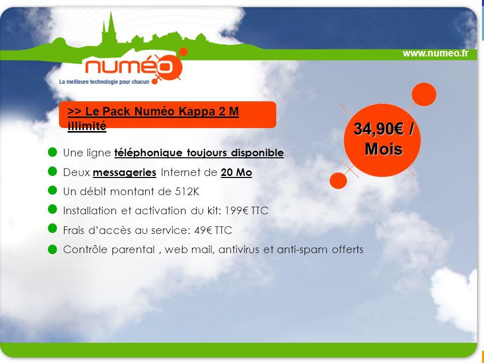 www.numeo.fr Une ligne téléphonique toujours disponible Deux messageries Internet de 20 Mo Un débit montant de 512K Installation et activation du kit: