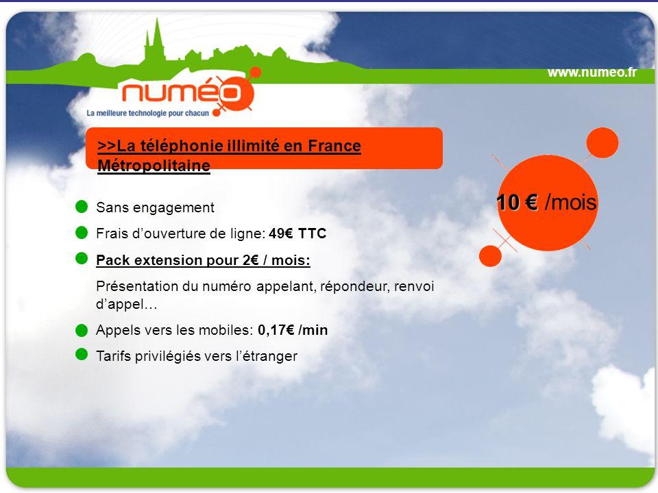 www.numeo.fr Sans engagement Frais douverture de ligne: 49 TTC Pack extension pour 2 / mois: Présentation du numéro appelant, répondeur, renvoi dappel
