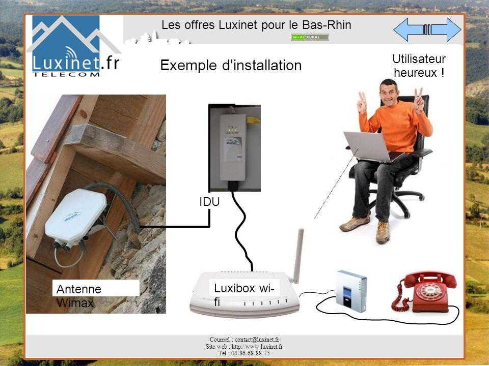 Les offres Luxinet pour le Bas-Rhin Courriel : contact@luxinet.fr Site web : http://www.luxinet.fr Tel : 04-86-68-88-75 Exemple d'installation Antenne