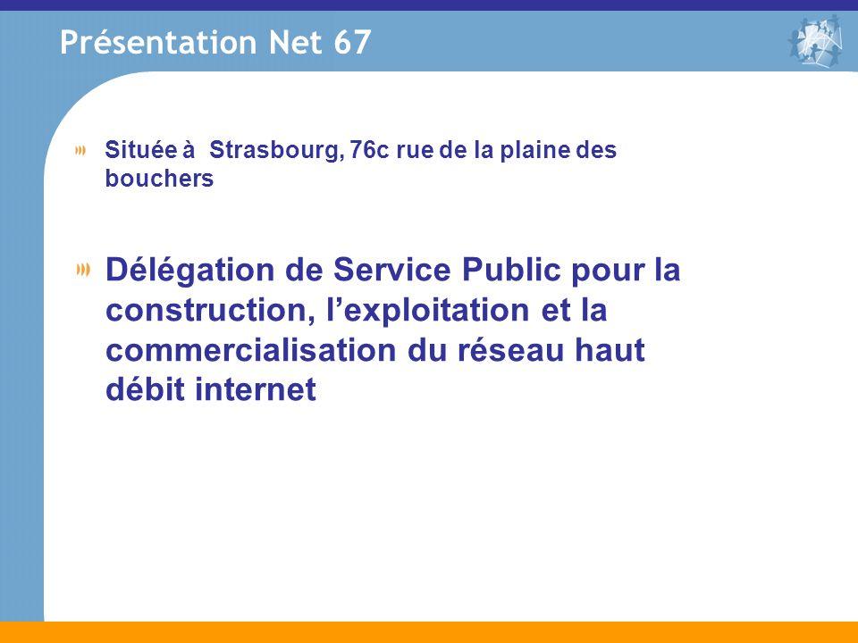 Présentation Net 67 Située à Strasbourg, 76c rue de la plaine des bouchers Délégation de Service Public pour la construction, lexploitation et la comm