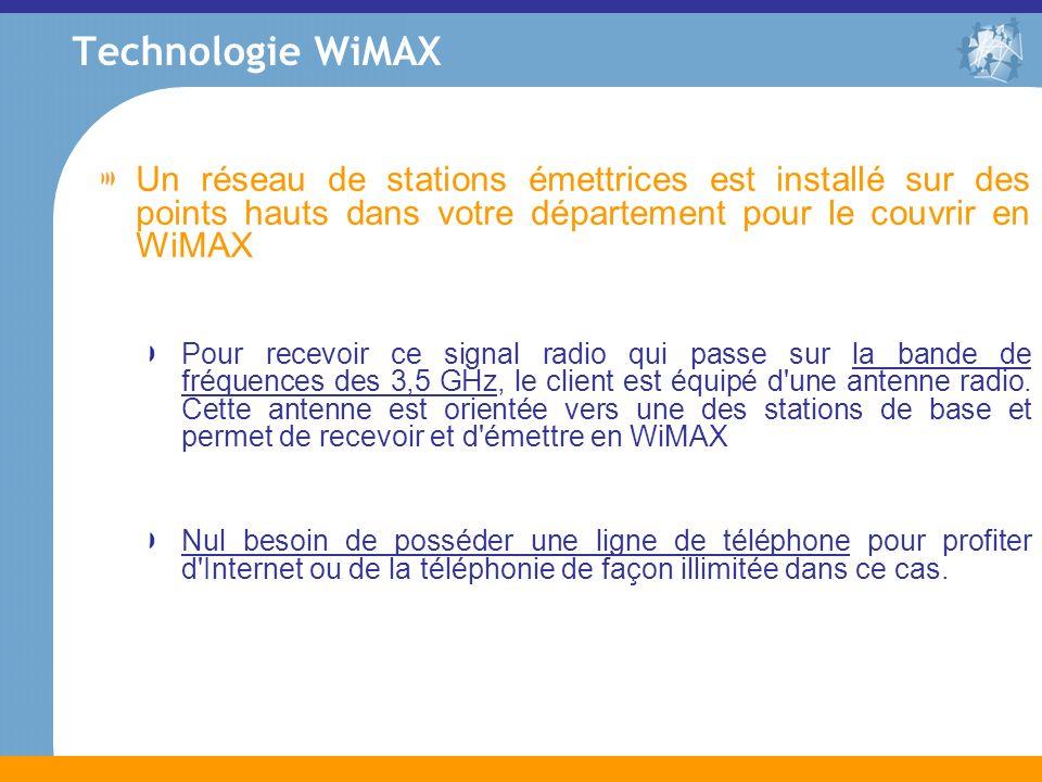Un réseau de stations émettrices est installé sur des points hauts dans votre département pour le couvrir en WiMAX Pour recevoir ce signal radio qui p