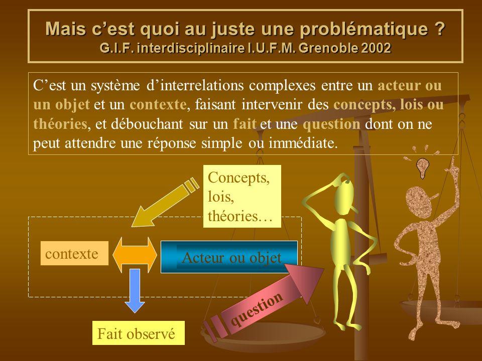Mais cest quoi au juste une problématique ? G.I.F. interdisciplinaire I.U.F.M. Grenoble 2002 Cest un système dinterrelations complexes entre un acteur