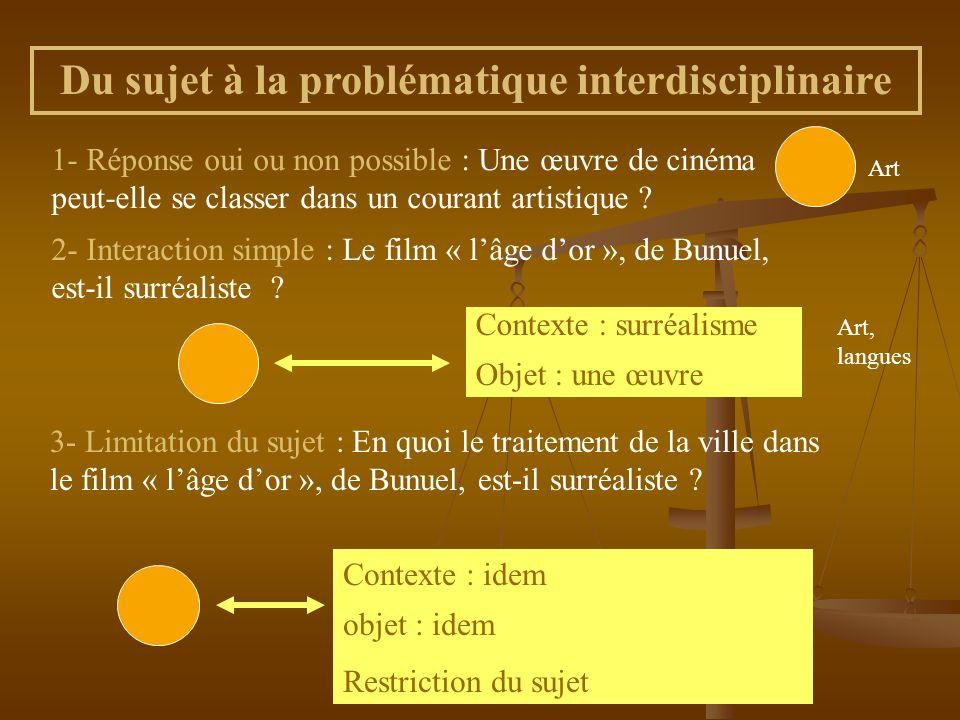 Du sujet à la problématique interdisciplinaire 1- Réponse oui ou non possible : Une œuvre de cinéma peut-elle se classer dans un courant artistique ?
