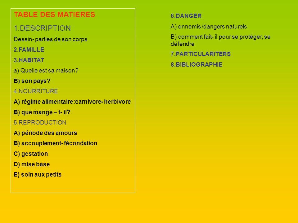 TABLE DES MATIERES 1.DESCRIPTION Dessin- parties de son corps 2.FAMILLE 3.HABITAT a) Quelle est sa maison? B) son pays? 4.NOURRITURE A) régime aliment