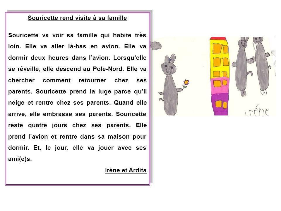 Souricette rend visite à sa famille Souricette va voir sa famille qui habite très loin. Elle va aller là-bas en avion. Elle va dormir deux heures dans