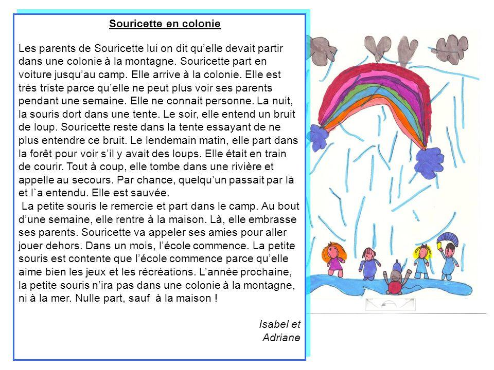 Souricette fait un dessin à lécole Souricette va à lécole, elle fait un devoir de dessin et elle dessine des ours.