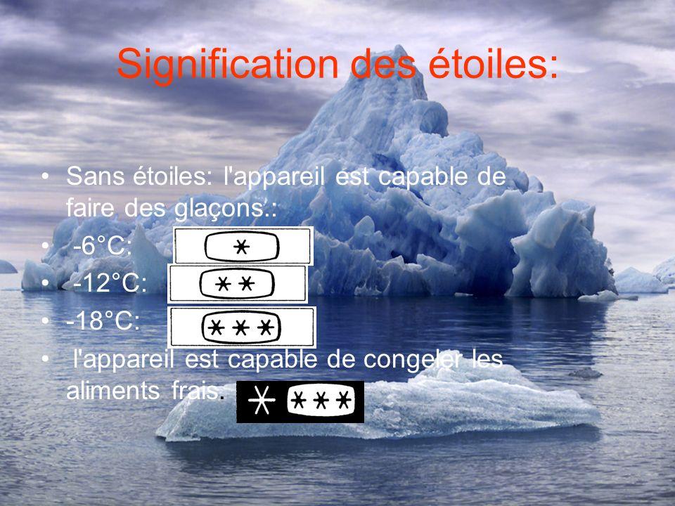 Signification des étoiles: Sans étoiles: l appareil est capable de faire des glaçons.: -6°C: -12°C: -18°C: l appareil est capable de congeler les aliments frais.