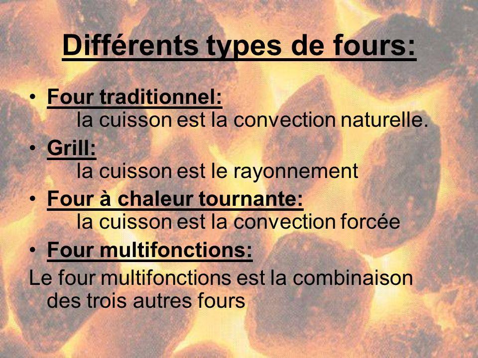 Différents types de fours: Four traditionnel: la cuisson est la convection naturelle. Grill: la cuisson est le rayonnement Four à chaleur tournante: l