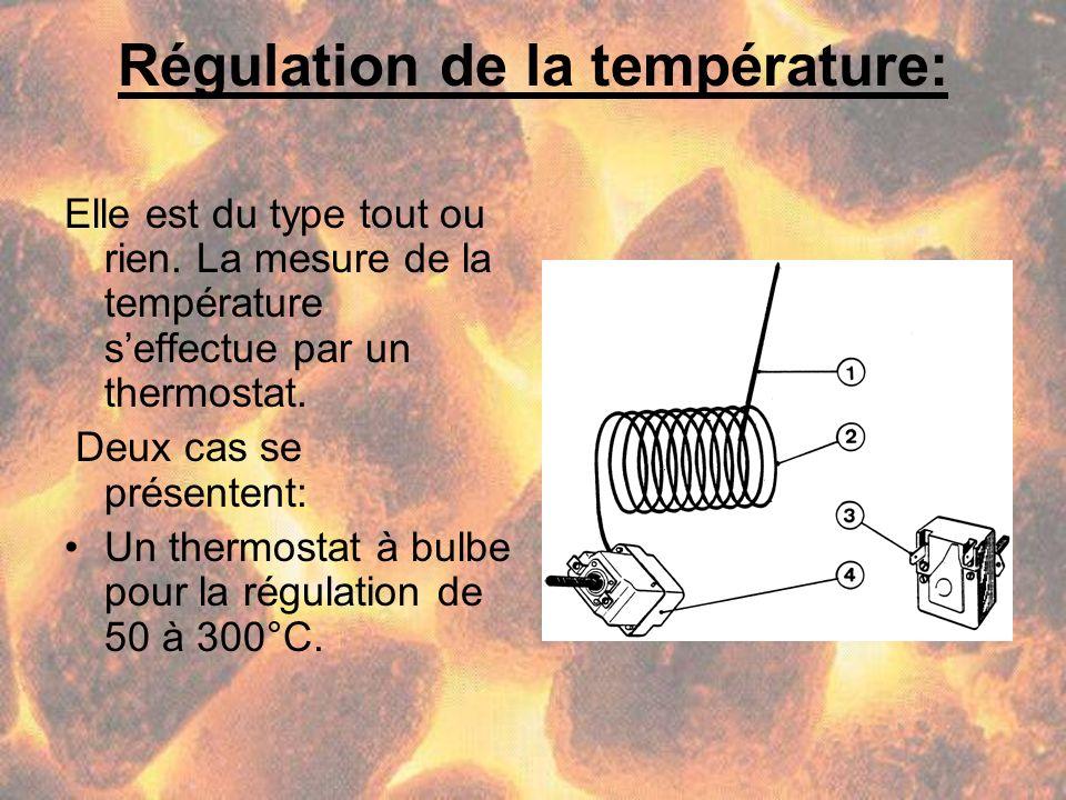 Régulation de la température: Elle est du type tout ou rien. La mesure de la température seffectue par un thermostat. Deux cas se présentent: Un therm