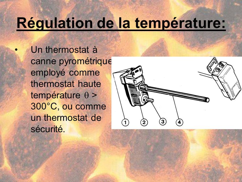 Régulation de la température: Un thermostat à canne pyrométrique employé comme thermostat haute température > 300°C, ou comme un thermostat de sécurit
