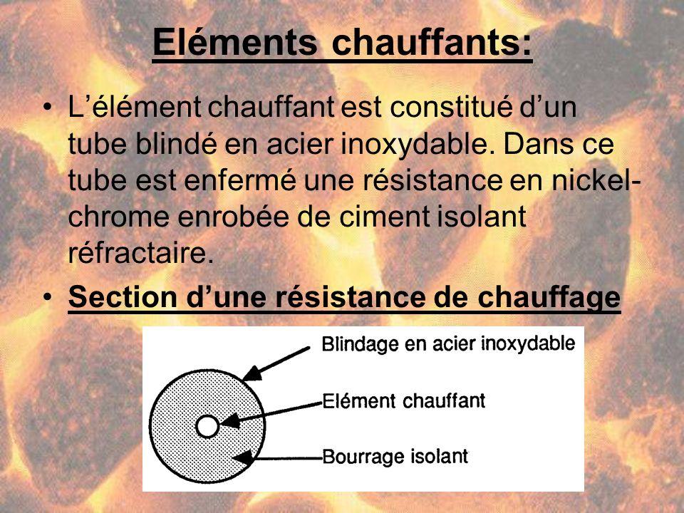 Eléments chauffants: Lélément chauffant est constitué dun tube blindé en acier inoxydable. Dans ce tube est enfermé une résistance en nickel- chrome e