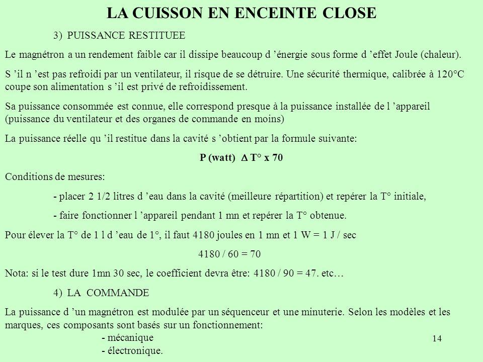 14 LA CUISSON EN ENCEINTE CLOSE 3) PUISSANCE RESTITUEE Le magnétron a un rendement faible car il dissipe beaucoup d énergie sous forme d effet Joule (