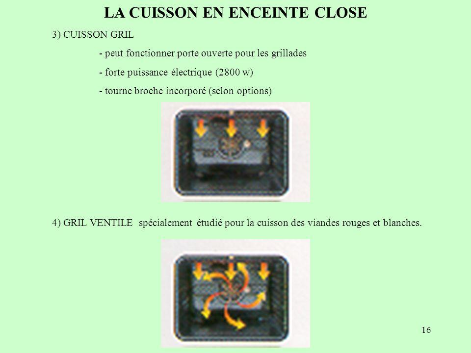 16 LA CUISSON EN ENCEINTE CLOSE 3) CUISSON GRIL - peut fonctionner porte ouverte pour les grillades - forte puissance électrique (2800 w) - tourne bro