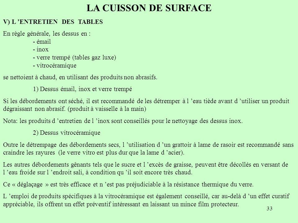 33 LA CUISSON DE SURFACE V) L ENTRETIEN DES TABLES En règle générale, les dessus en : - émail - inox - verre trempé (tables gaz luxe) - vitrocéramique