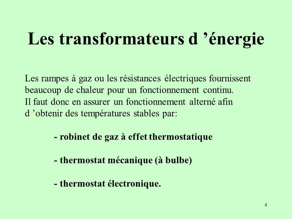 4 Les transformateurs d énergie Les rampes à gaz ou les résistances électriques fournissent beaucoup de chaleur pour un fonctionnement continu. Il fau