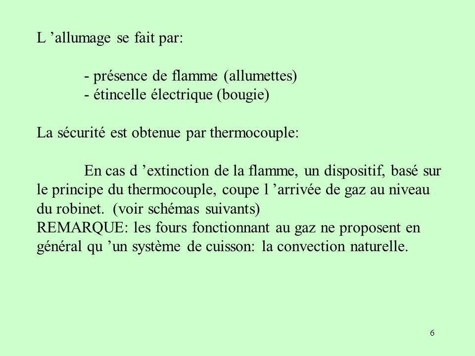 6 L allumage se fait par: - présence de flamme (allumettes) - étincelle électrique (bougie) La sécurité est obtenue par thermocouple: En cas d extinct