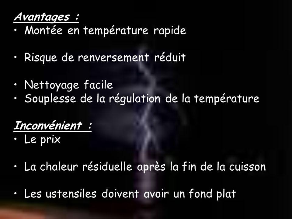 Avantages : Montée en température rapide Risque de renversement réduit Nettoyage facile Souplesse de la régulation de la température Inconvénient : Le