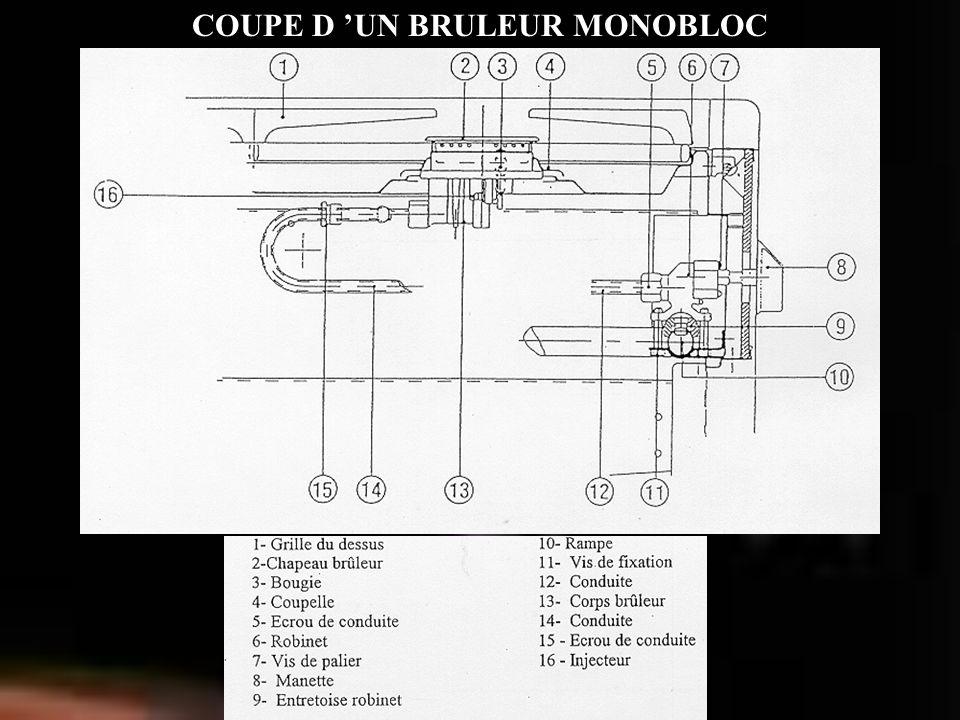 COUPE D UN BRULEUR MONOBLOC