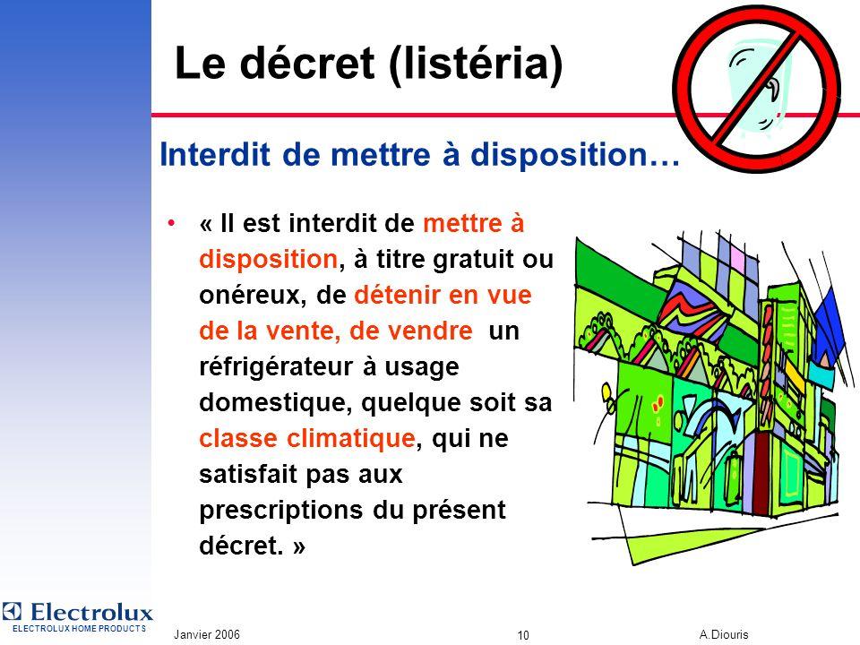 ELECTROLUX HOME PRODUCTS Janvier 2006 A.Diouris 9 Le décret (listéria) Interdit de mettre à disposition… Identification dune zone dédiée aux denrées h
