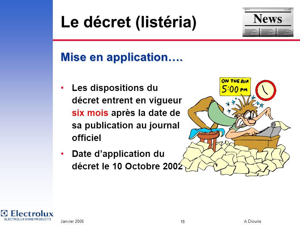 ELECTROLUX HOME PRODUCTS Janvier 2006 A.Diouris 17 Le décret (listéria) « Est puni des peines damendes prévues pour les contraventions de la 5 eme cla