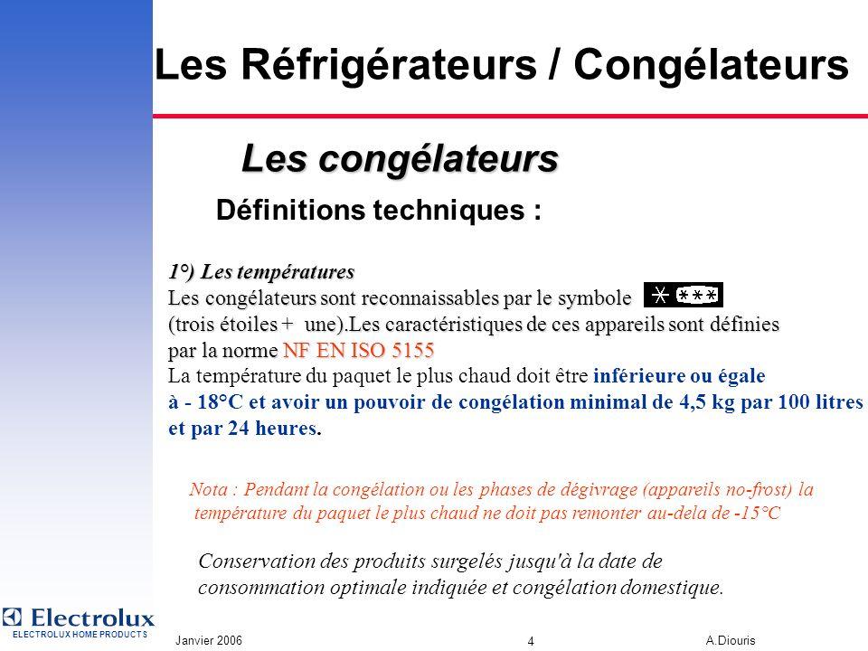 ELECTROLUX HOME PRODUCTS Janvier 2006 A.Diouris 3 Les Réfrigérateurs / Congélateurs Définitions techniques : Dans le compartiment de fabrication de gl