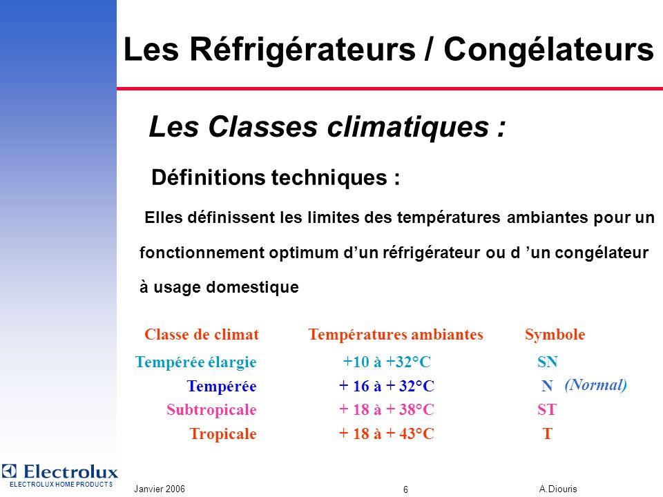 ELECTROLUX HOME PRODUCTS Janvier 2006 A.Diouris 5 Les Réfrigérateurs / Congélateurs Définitions techniques : Autonomie des congélateurs : Méthode de m