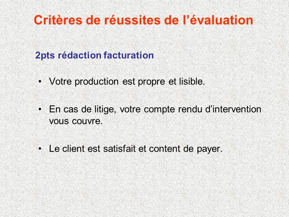 Critères de réussites de lévaluation 2pts rédaction facturation Votre production est propre et lisible.