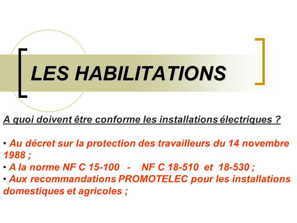 LES HABILITATIONS A quoi doivent être conforme les installations électriques ? Au décret sur la protection des travailleurs du 14 novembre 1988 ; A la